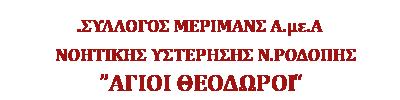ΣΥΛΛΟΓΟΣ ΜΕΡΙΜΝΑΣ Α.με.Α ΝΟΗΤΙΚΗΣ ΥΣΤΕΡΗΣΗΣ Ν. ΡΟΔΟΠΗΣ «ΑΓΙΟΙ ΘΕΟΔΩΡΟΙ»